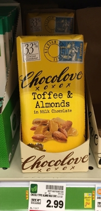 Chocolove Toffee & Almonds -- fair trade but $2.99 per bar