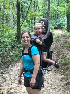 mom hikes with 2 year old in carrier